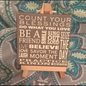 Mini canvas and wooden easel decor-cute quotes!